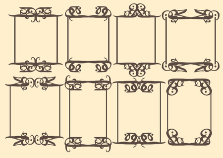 dashes: Vector vintage decorative design borders and frames. Illustration
