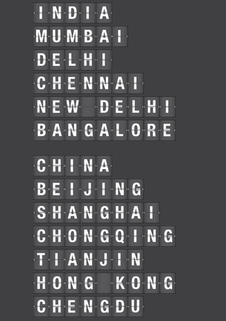 Name of Chinese and Indian cities on airport flip board style illustration.  Illustration
