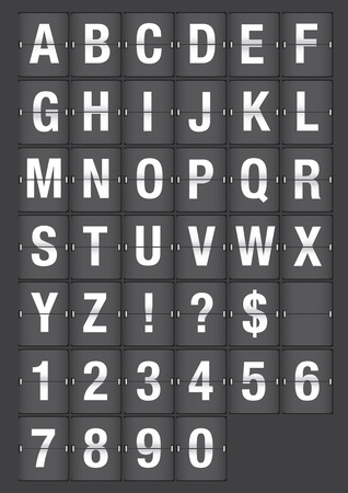 illustration of analog font similar to airport flip chart Vector
