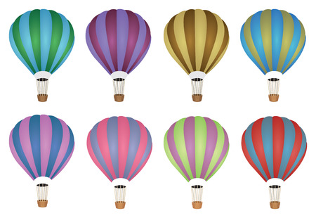 illustration of colorful hot air balloons on white background. Vector