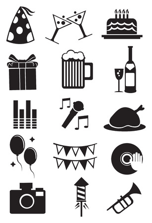 illustration of isolated icons for celebrations and parties on white background. Vector