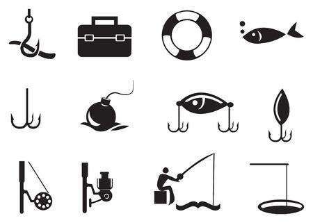 illustration of isolated fishing icons on white background.