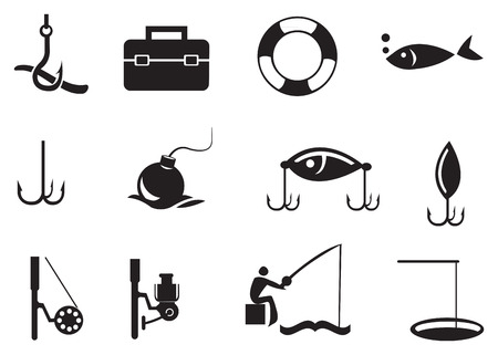 baited: illustration of isolated fishing icons on white background.