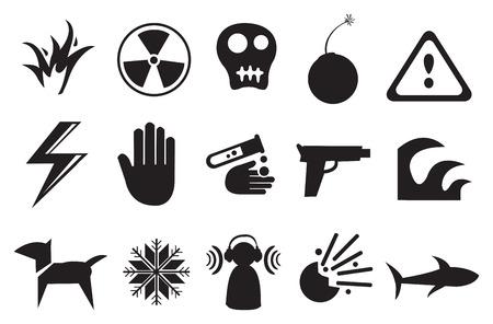 dead dog: illustration of different icons for Danger