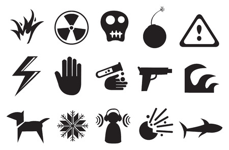 chemical hazard: Vector illustration of different icons for Danger