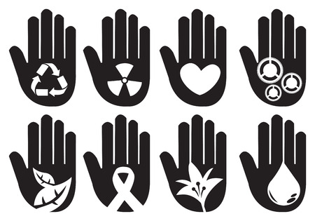 Conceptual hand symbols for different community messages. Vector illustration on white background.