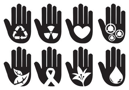 ahorrar agua: S�mbolos de la mano conceptuales para diferentes mensajes de la comunidad. Ilustraci�n vectorial sobre fondo blanco.