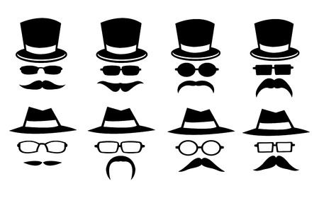 Vector illustration of isolated hats, glasses and moustaches on white background