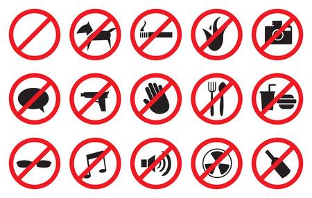 """riesgo quimico: Ilustración del vector del """"No"""" señales para diferentes actividades prohibidas. Aislado en el fondo blanco."""