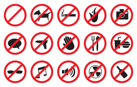 Vector illustration of No signs for different prohibited activities. Isolated on white background. Ilustração