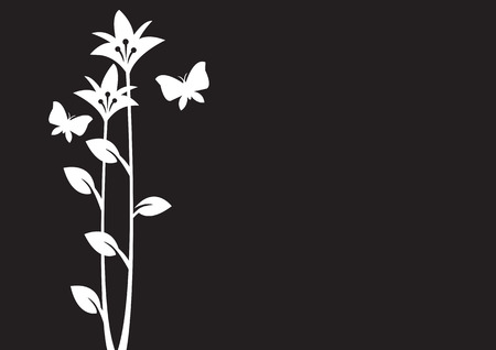 Vector illustration of butterflies flying around flowers on black background. Vector