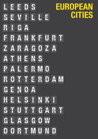 Name of European Cities on airport flip board style. Vector font design.  Vector