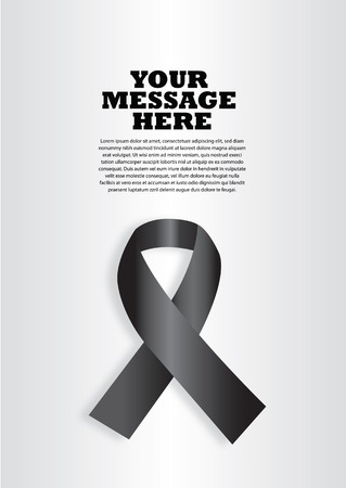 social awareness symbol: illustration of a black ribbon on silver background