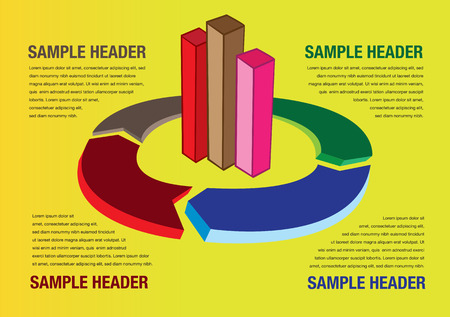 centralized: Vector illustration of bar graph and pie chart with arrow head. Layout template for business presentation with copy space.