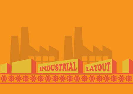 conveyor system: Vector illustration of factories and bulky boxes on conveyor belt on bright orange background.