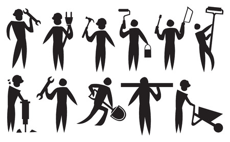 specialities: Vector illustration of a labourers doing their construction works.