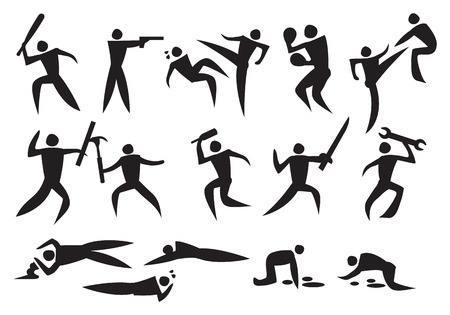 Icon of a vector illustrate men fighting with weapons and people deading. Vector
