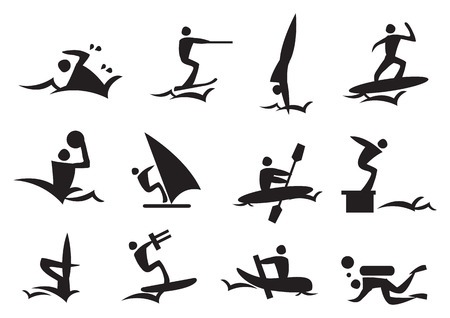 rower: Icon of silhouettes man enjoying the water sports. Vector illustration.