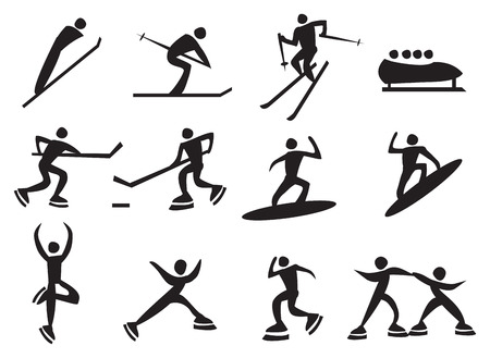 Icon of silhouettes man enjoying the winter sports. Vector illustration. Vector