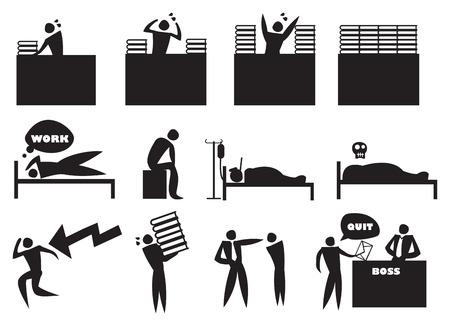 renuncia: Ilustraci�n vectorial de exceso de trabajo y estresado hombre icono en el trabajo. Concepto para la conciliaci�n de la vida laboral.