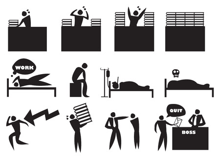 workload: Vector illustration of overworked and stressed out icon man at work. Concept for work life balance.