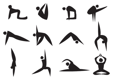 Vector illustration of black icon man doing different yoga position Vector