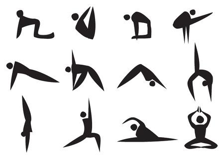 Ilustración del vector del icono negro hombre que hace diferente posición de yoga