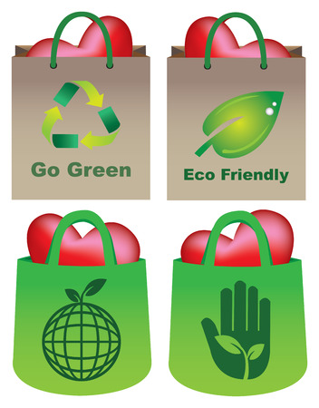 illustration of eco-friendly shopping bags carrying heart in four different designs   Vector