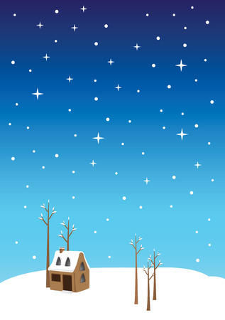 starry night: illustration of a small cottage house and bare trees on winter landscape and starry night