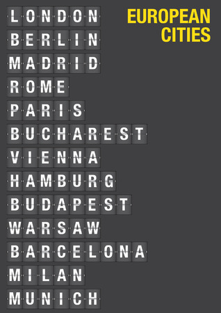 european cities: Name of European Cities on airport flip board style