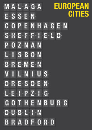 Name of European Cities on airport flip board style   Vector