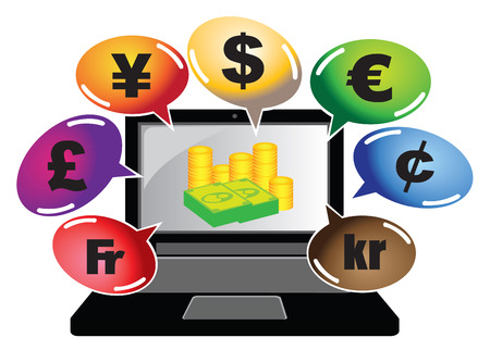 illustration of a laptop showing money on its screen and many colorful speech bubbles with currency symbols. Vector