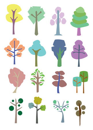Colorful illustration trees for different uses.