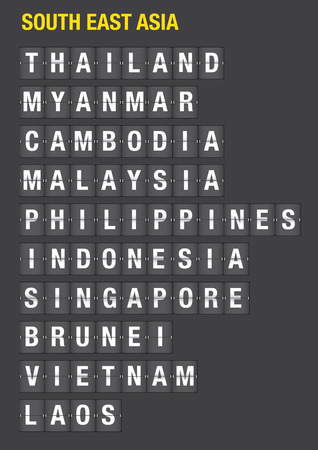 Name of Southeast Asian on airport flip board style. Vector font design.