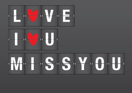 Love messages for Valentine in airport flip board style. Vector font design.  Vector