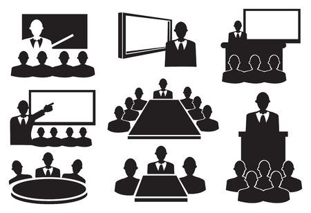 Ilustración vectorial conceptual. Iconos blancos y negros para la reunión de negocios.