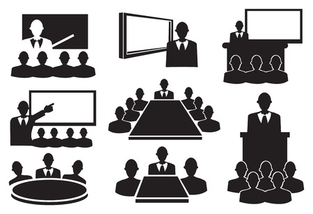 workshop seminar: Conceptual vector illustration. Black and white icons for business meeting.