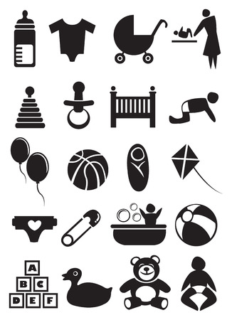 Vector illustration of objects related to baby and parenting. Black and white icon set. Vector