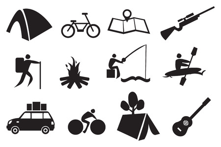 Vector illustration of icon set related to camping and adventure Illustration