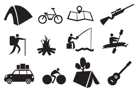 Ilustración vectorial de conjunto de iconos relacionados con el camping y aventura