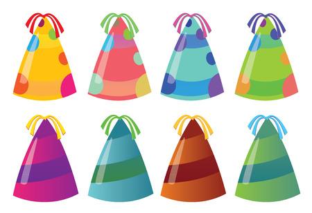 Isolés chapeaux de fête colorés. Vector illustration