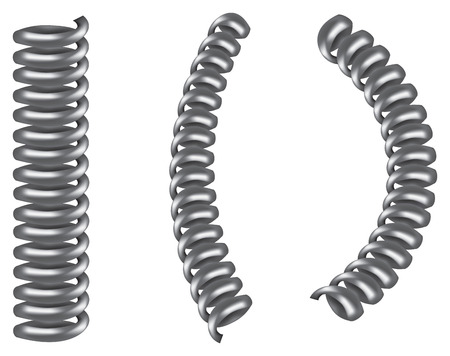 springy: illustration of three silver grey metal spiral coil