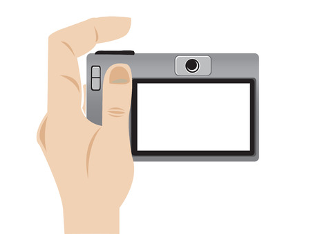 Illustration of a hand holding a camera Vector