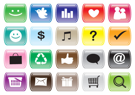 Icon set for social media networking and app buttons.  Vector