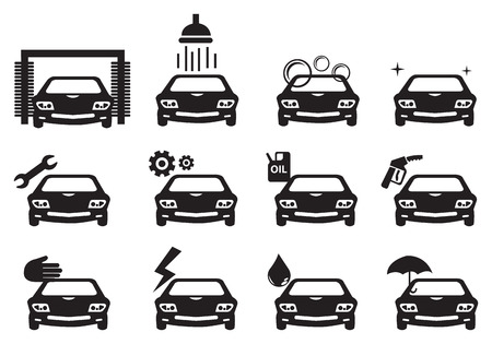 Black and white vector illustration of car service icons Illustration