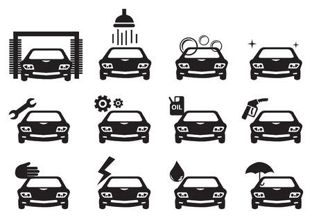 onderhoud auto: Zwart-wit vector illustratie van de auto-service iconen Stock Illustratie