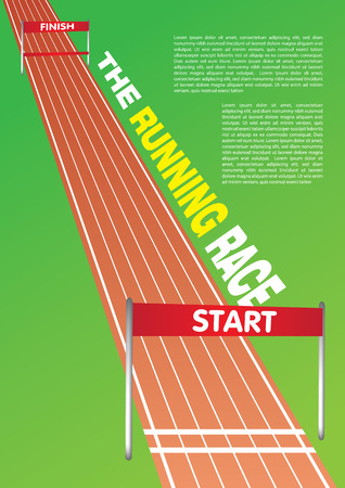 Vector illustration of a running race track with own area for headline and copy. Stock Illustratie