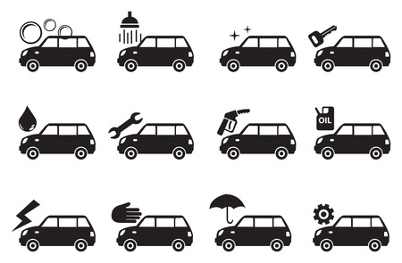valet: Vector illustration of car grooming service icons in black and white Illustration