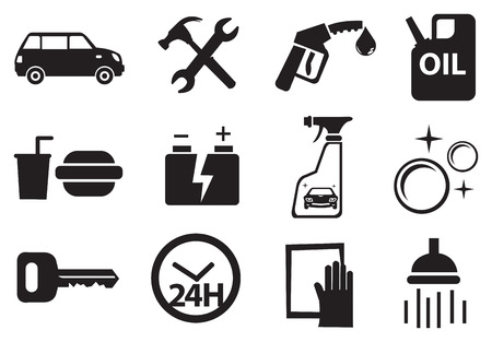 Black and white vector icons for services available at petrol kiosk.
