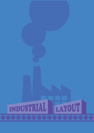 cinta transportadora: ilustración de emitir fábrica humo y de carga en la cinta transportadora. Concepto de la contaminación industrial.